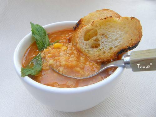 soupe de lentilles et de boulgour